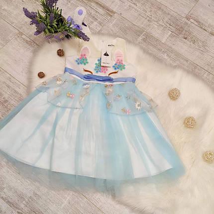 Нарядное детское платье на девочку Единорожка  5-6 лет голубое, фото 2