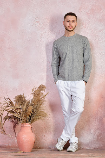 Мужская футболка JHK REGULAR T-SHIRT LS цвет темно-серый меланж (GM)