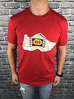 Футболка Gucci | Красная брендовая мужская футболка Гуччи | Майка красная Гуччи кроссовок