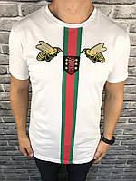 Мужская брендовая футболка Gucci белая | Футболка короткий рукав Гуччи Муха | Майка белая логоип Гуччи Пчела