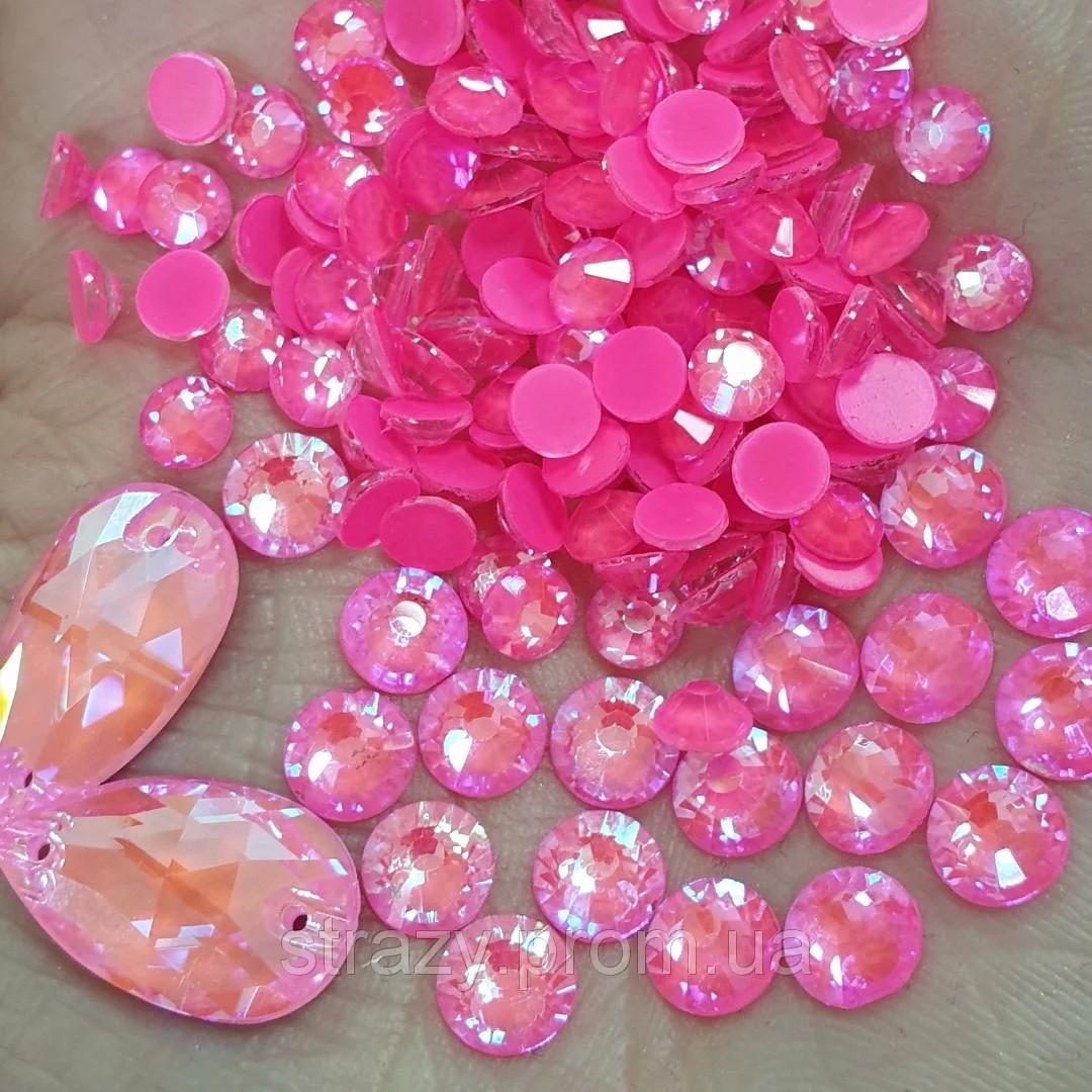 Стрази ss30 Crystal Electric Pink DeLite 288шт, (6.5 мм)