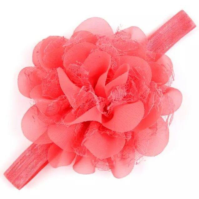 Детская коралловая повязка - окружность 40-50см, размер цветка 10-11см