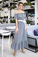 Женский сарафан в пол длинное платье открытые плечи волан летний батист размер:42-44,46-48,50-52,54-56