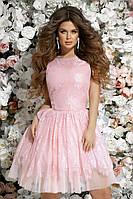 Выпускное платье красивое нежное короткое пышная юбка гипюр+сетка+фатиновый подъюбник размер:42,44,46