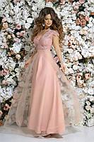 Платье выпускное длинное вечернее красивое верх декор камни гипюр+габардин+сетка размер:42,44,46