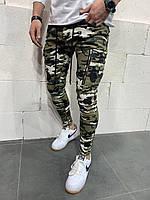 Мужские зауженные джинсы камуфляжные
