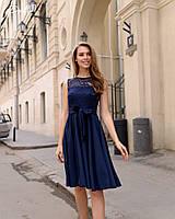 Летнее платье легкое до колен гипюр+софт с поясом размеры:42,44,46,48
