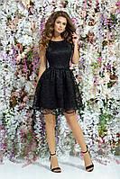Красивое вечернее платье короткое гипюр+атлас выпускное платье размер:42,44,46 РАСПРОДАЖА!
