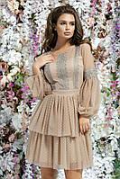 Красивое нежное вечернее платье короткое длинный рукав выпускное платье размер:42,44,46