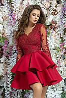 Красивое вечернее платье короткое пышная юбка спинка сетка выпускное платье размер:42,44,46