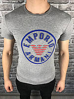 Мужская Футболка Armani серая | Майка серая Армани с логотипом | Хлопковая футболка Армани с принтом