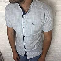 Рубашка мужская XL (48) приталенная, короткий рукав, слим фит Турция турецкая, лен Серый