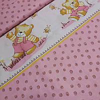 Ткань с мишками и завитушками на розовом, ширина 160 см, фото 1