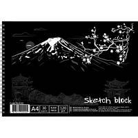 Бумага для художников А4, черные листы, 30 листов, графика