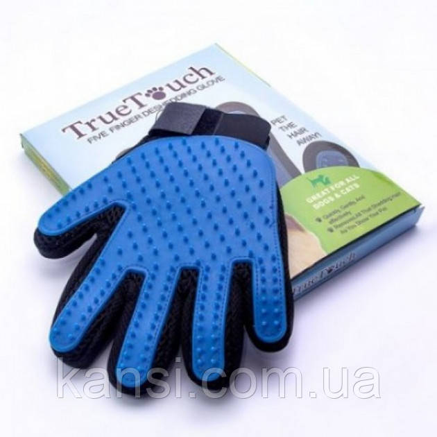 Рукавичка щітка для вичісування шерсті True Touch Pet Brush Gloves
