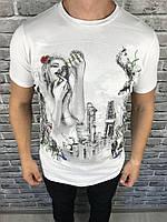 Футболка белая Lanvin | Мужская футболка Ланвин принт девушка | Брендовая футболка белая Ланвин мужская