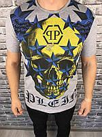Футболка Philipp Plein | Серая футболка с черепом Филипп Плейн | Майка серая мужская Плейн череп