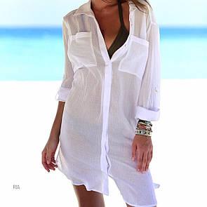 Женская пляжная шифоновая накидка рубашкой из креп-шифона с карманами на груди 77kl336
