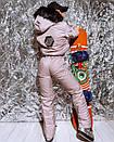 Жіночий зимовий комбінезон гірськолижний з гумкою на талії і хутряною опушкою на капюшоні 18gk43, фото 4