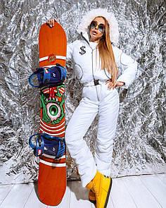 Женский теплый лыжный комбинезон с поясом, капюшоном и мехом 18gk44