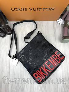 Сумка-планшетка черная Bikkembergs | Мужская сумка через плече Биккимбергс | Повседневная сумка черная
