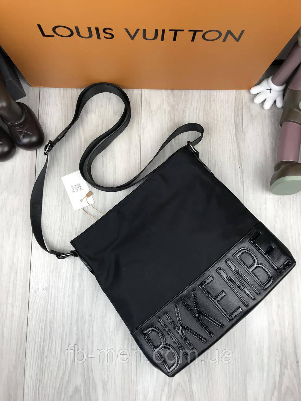 Мужская сумка-планшетка Биккимберсг | Сумка на плече черная Биккимбергс | Черная текстильная сумка Биккимберсг