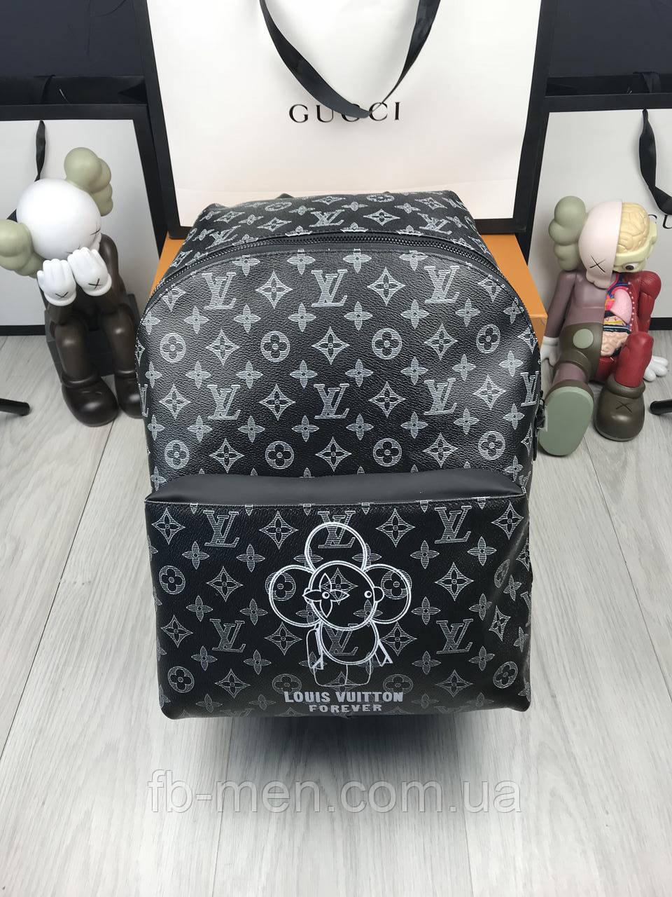 Кожаный рюкзак Луи Виттон   Стильный рюкзак Луи Виттон  Черный мужской женский рюкзак Луи Виттон большой