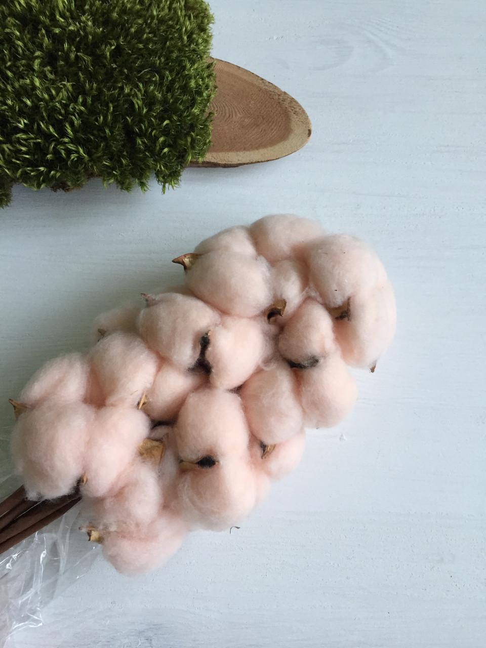 Хлопок на искуственной ветке персиковый  ( упаковка 10 шт )