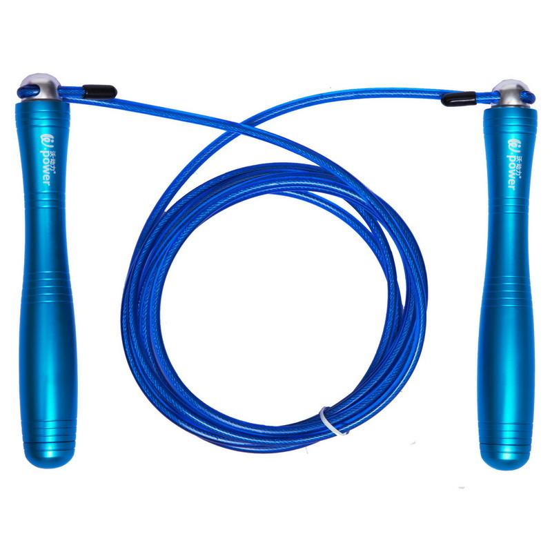 Скакалка скоростная Кроссфит с подшипником и стальным тросом с алюминиевыми ручками W POWER blue