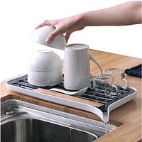 Сушилка для посуды и продуктов ос сливным носиком Kitchen Draining Tray