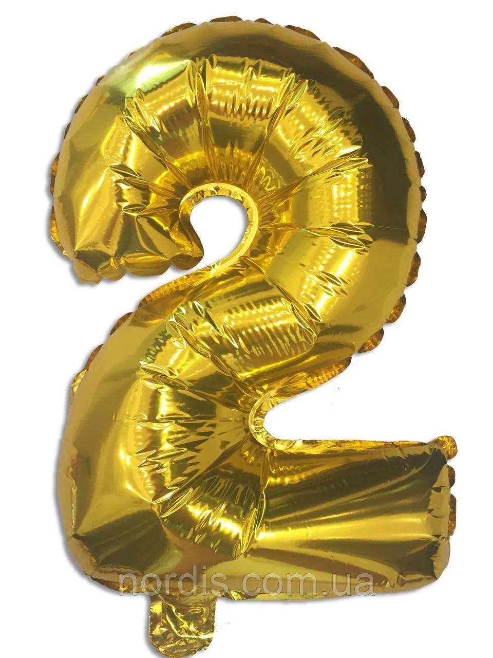 Куля цифра 2 фольгований золото 35 див.