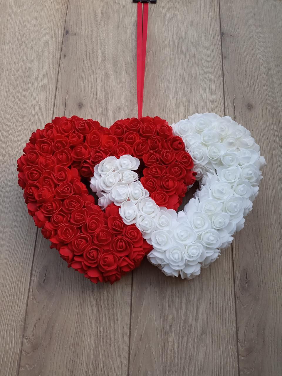 Подвійне червоно-біле серце з троянд фоамірану 37 см