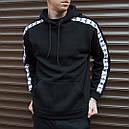 Утепленное худи мужское Адидас (Adidas) черное, фото 2