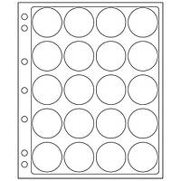 Лист-пластик для монет диаметром 40...41 мм в капсулах  (240*280) Leuchtturm