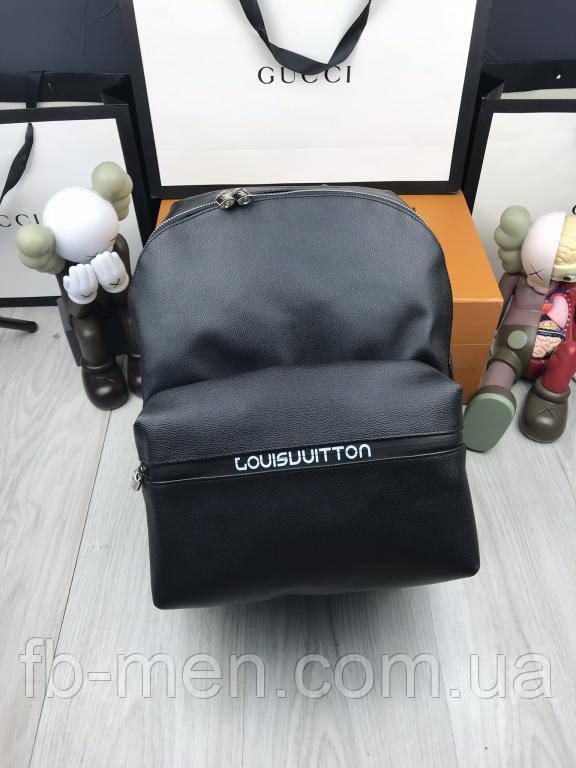 Рюкзак мужской Луи Виттон   Кожаный черный рюкзак Луи Виттон   Портфель Луи Виттон большой вместительный