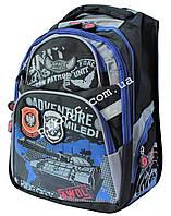 Рюкзак школьный ортопедический для мальчиков 1, 2, 3, 4 класс, портфель, ранец для школы. Черно-синий