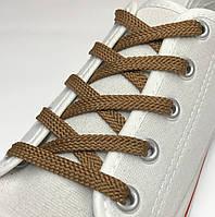 Шнурки простые плоские светло-коричневый 70см (Ширина 7 мм), фото 1