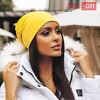 """Шапка женская зимняя """"Бини"""" - Желтый"""