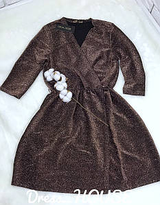 Платье с запахом из люрекса с рукавом до локтя 5ty770
