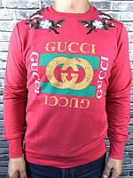 Батник Gucci|Мужской свитер Гуччи яркий|Кофта Гуччи мужская осенняя теплая|Свитер с рисунком Гуччи