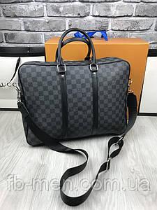 Сумка для ноутбука Louis Vuitton серая (копия)   Сумка повседневная под документы с ремнем Louis Vuitton