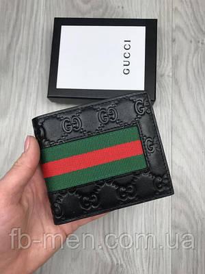 Бумажник черный Gucci мужской   Классический чёрный портмоне Гуччи женский   Кожаный кошелек маленький Gucci