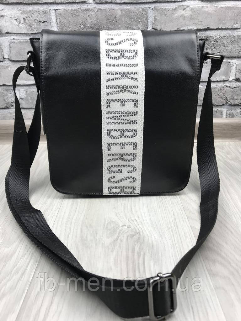 Черная сумка-планшетка Биккимбергс | Повседневная сумка мужская черная с крышкой Биккимбергс кожа мужская