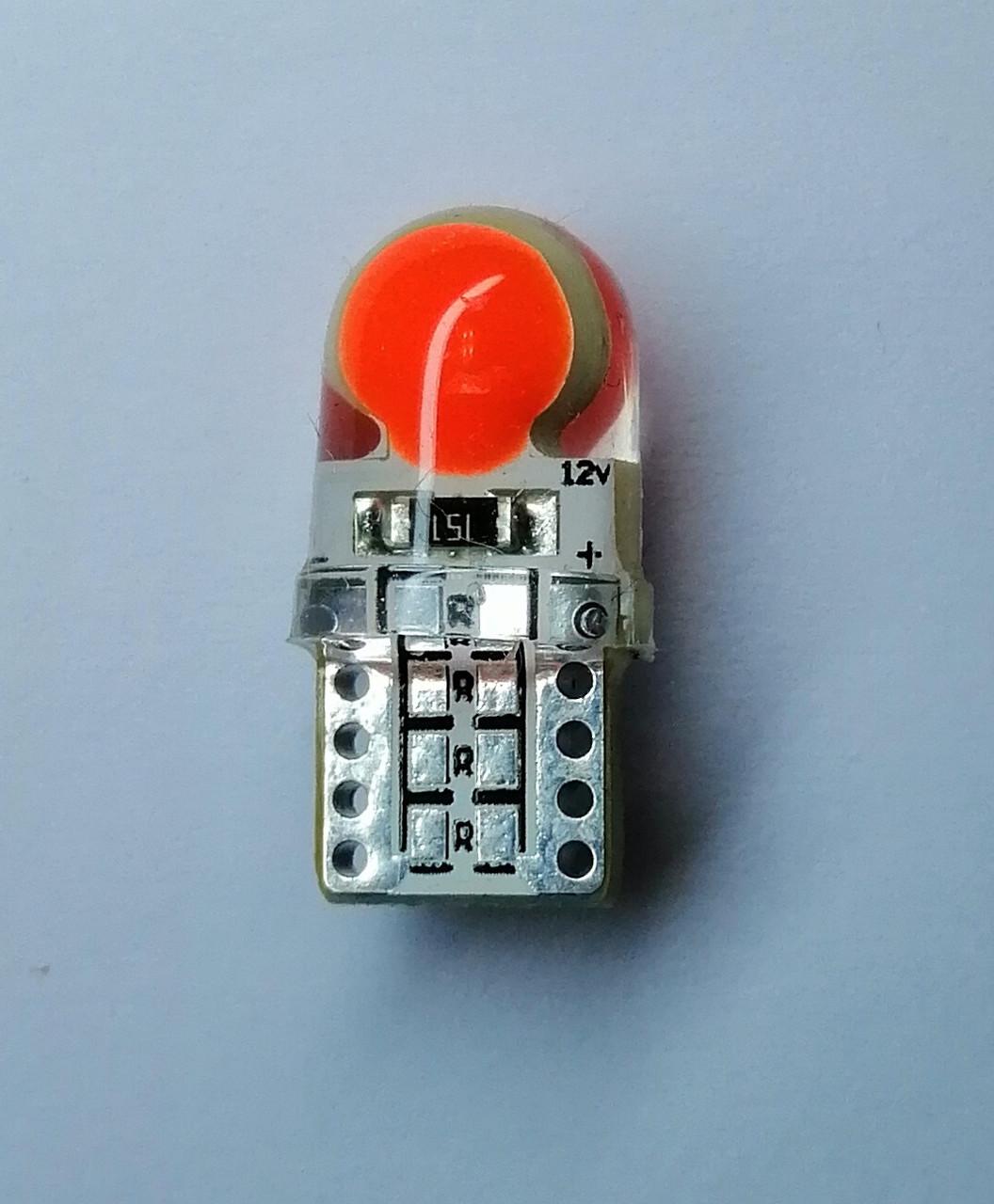 Лампа автомобільна світлодіодна ZIRY T10 w5w LED Cob Chip, червона