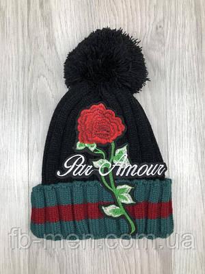 Шапка Gucci   Теплая шапка мужская женская Гуччи роза   Зимняя шапка Гуччи черная
