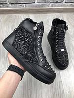 Ботинки кожаные Philiip Plein | Теплые ботинки Филипп Плейн мужские черного цвета на меху| Зимние ботинки PP