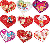 Валентинка 26-05 УКР Серце подвійне 15,5х13см з присипкою уп20