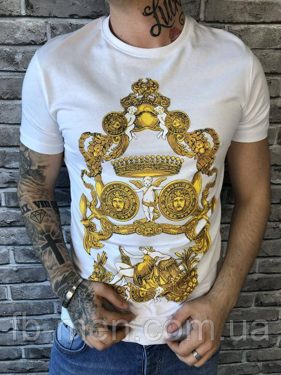 Футболка Versace | Футболка белая с логотипом Версаче | Майка белая мужская летняя Версаче золотой логотип