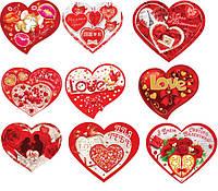 Валентинка 27-00 УКР 18,5х16см обьем V одинарка сердце +апликация, фото 1