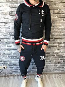 Спортивный костюм Dolce Gabbana | Сине-черный спортивный мужской костюм Дольче Габана